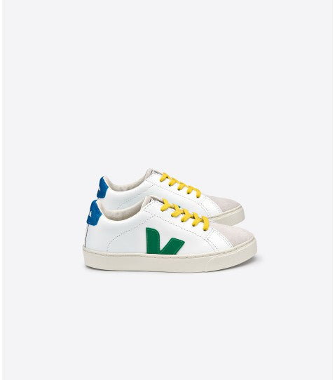 VEJA Junior Esplar •  Small Lace Leather Extra White Emeraude Gold Yellow