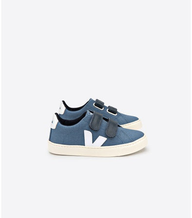 VEJA Junior Esplar • Small Velcro Canvas California White