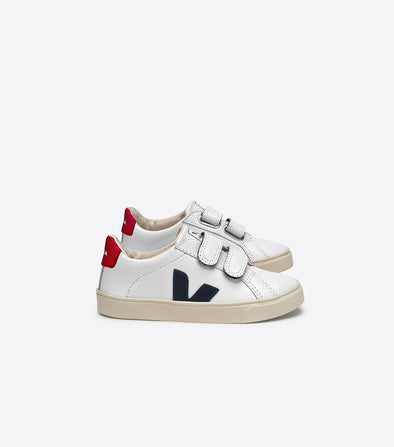 VEJA Kid Esplar •  Small Velcro Leather Extra White Nautico Pekin