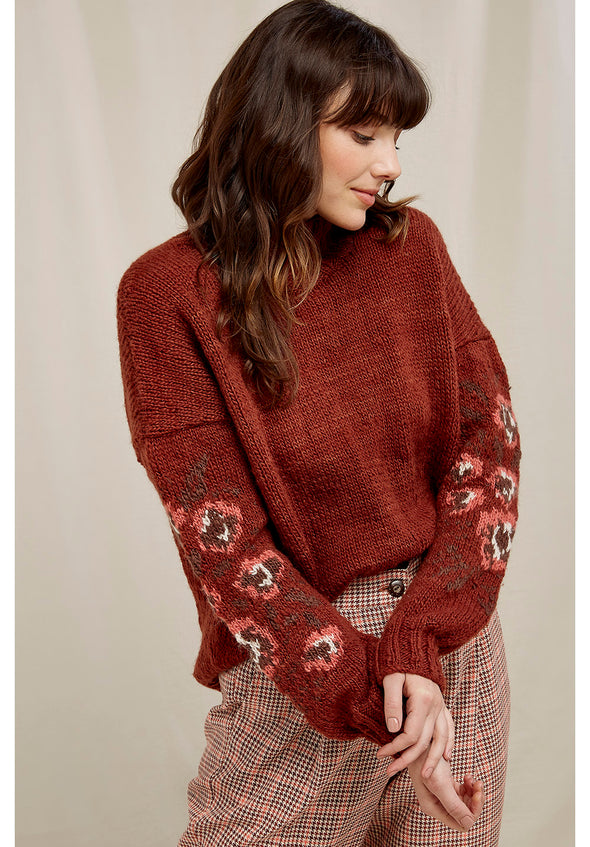 Harvestclub-Harvest-Club-Leuven-people-tree-flower-jacquard-jumper-rust