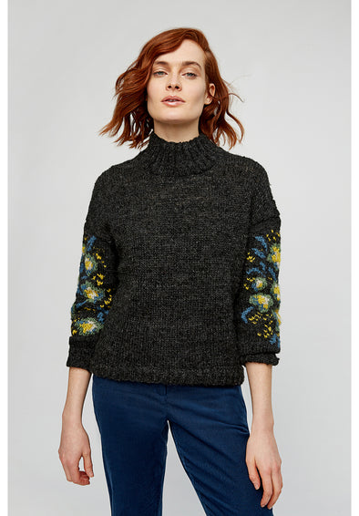 PEOPLE TREE Flower Jaquard Jumper • Dark Grey