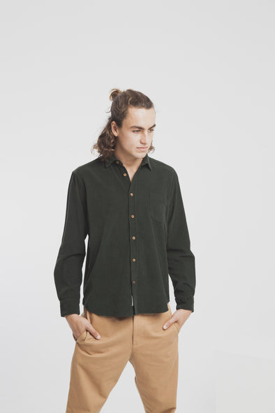 THINKING MU Corduroy Shirt • Green