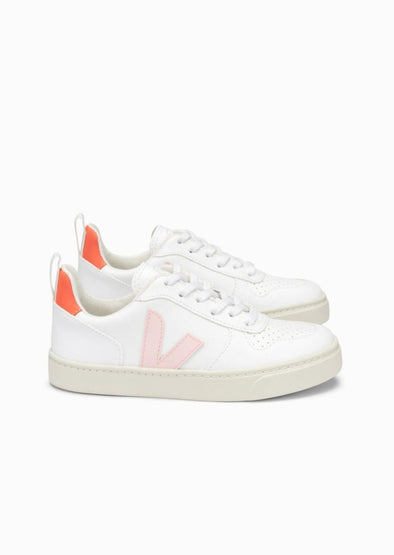 VEJA Junior V-10 Lace •  C.W.L White Petale Orange Fluo