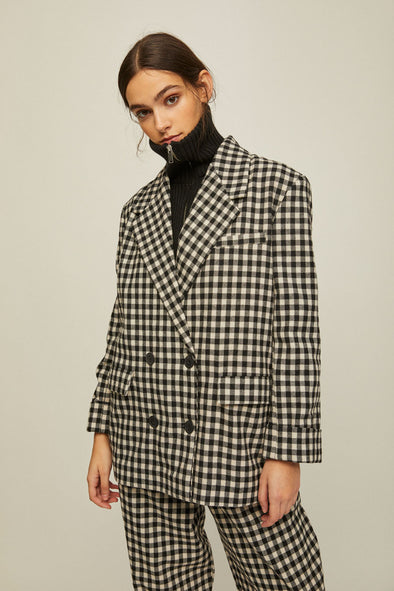 RITA ROW Doris Checkered Boyfriend style Blazer • Black Gingham