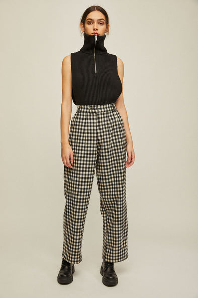 RITA ROW Nati High Waist Flared Pants • Black Gingham