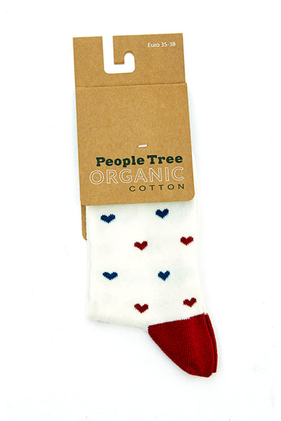 PEOPLE TREE Heart Socks • Ecru