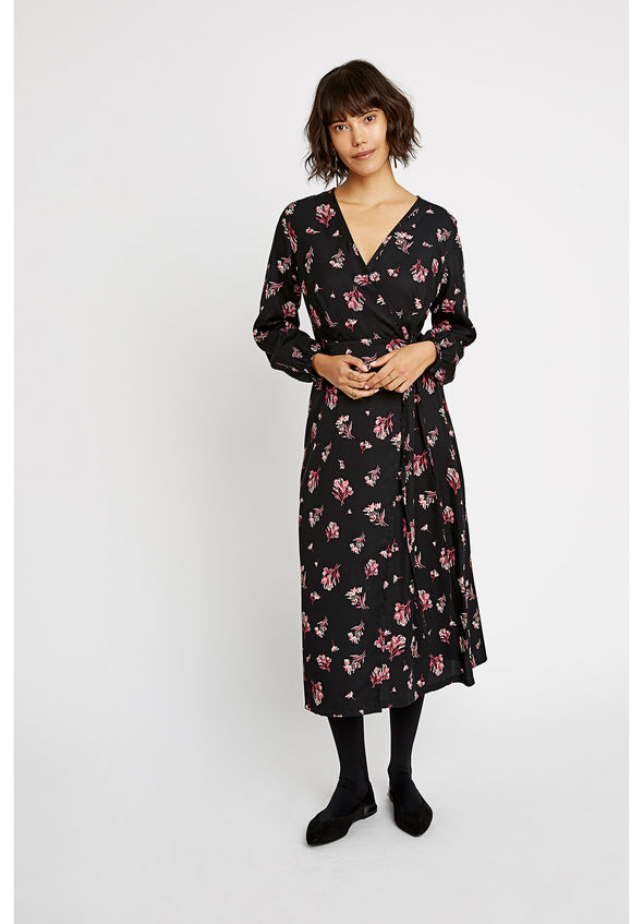 PEOPLE TREE  Jamila Bouquet Dress • Black & Pink