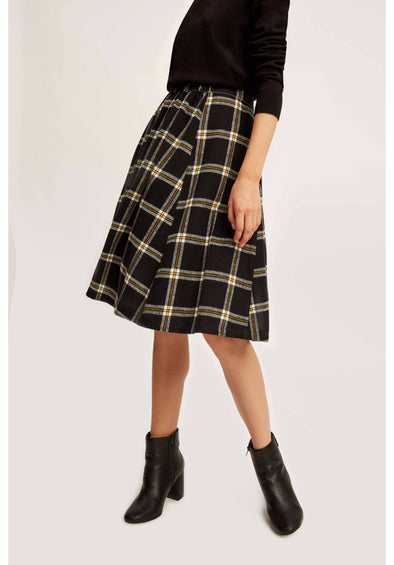 People Tree Lanie Checked Skirt • Black Yellow
