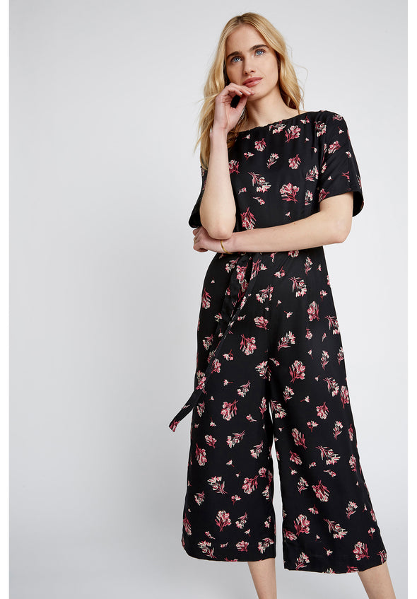 PEOPLE TREE Lexia Bouquet Jumpsuit • Black & Pink
