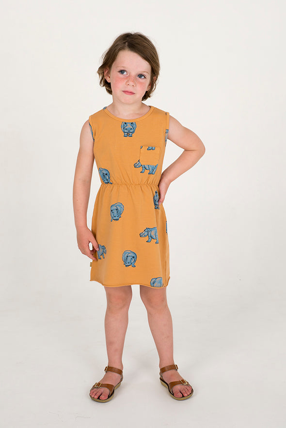 LÖTIEKIDS Sleeveless Dress • Hippopotamus Peach