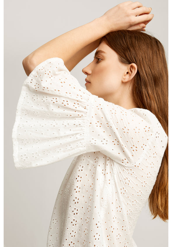 PEOPLE TREE Mary Broderie Top • White