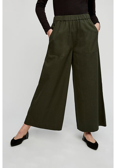 PEOPLE TREE  Mira Wide Leg Trousers • Khaki