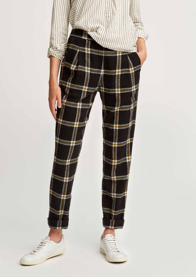 People Tree Miriam Checked Trousers • Black Yellow