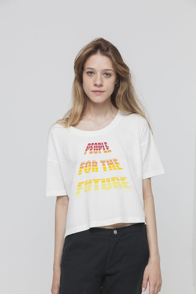 THINKING MU People For The Future Cropped T-shirt • White