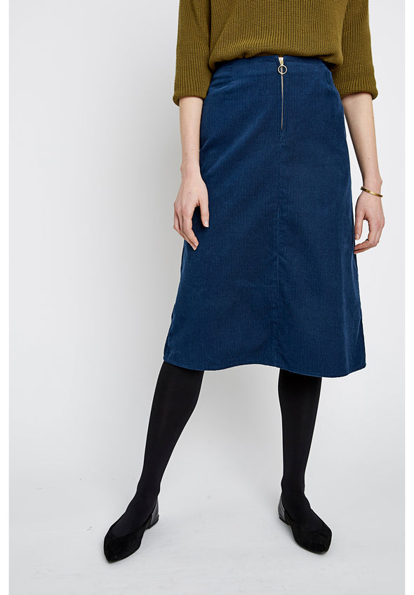 PEOPLE TREE  Renee Corduroy Skirt • Blue