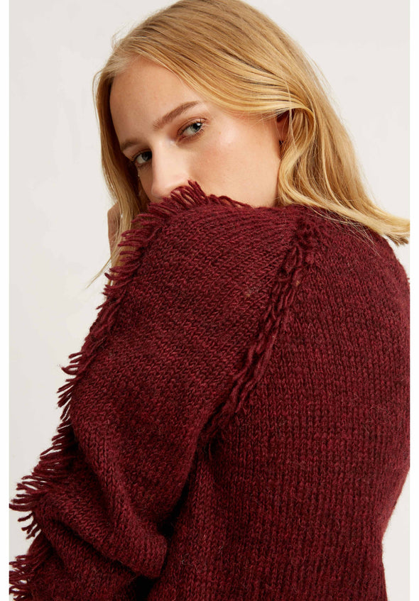 People Tree Hand Knits Rilla Fringed Jumper • Wine