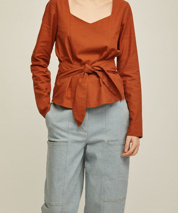RITA ROW VILMA Shirt with self-tie bow at the waist • Orange Check