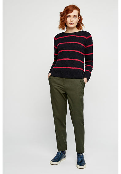 PEOPLE TREE Sally Striped Jumper • Navy and Pink