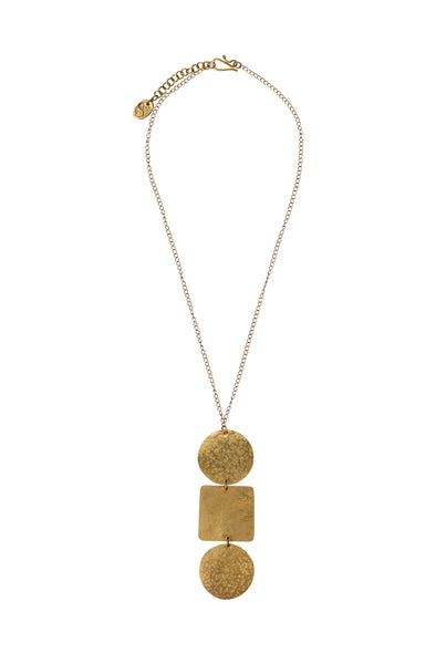 People Tree Statement Shapes Pendant • Brass