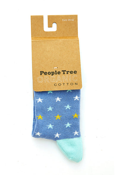 PEOPLE TREE Star Socks • Blue