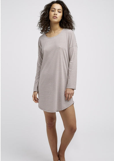 PEOPLE TREE  Stripe Long Sleeve Nightdress • Beige/Cream