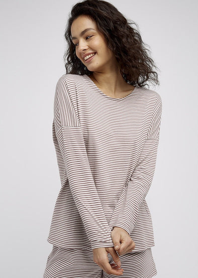 PEOPLE TREE  Stripe pyjama long Sleeve top • Beige/Cream