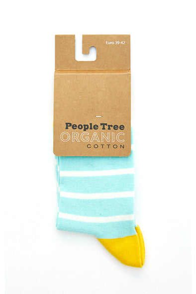 PEOPLE TREE Striped Socks • Light Blue