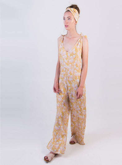 STUDIO JUX Knotted Shoulder Jumpsuit • Summer Flower