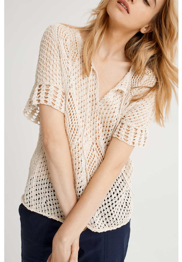 PEOPLE TREE Trudie Crochet Top • Cream
