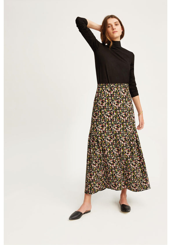 People Tree V&A Tulip Print Ruffle Skirt