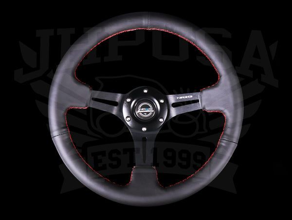 NRG Reinforced Sport Steering Wheel - 350mm Black Leather / Red Stitch
