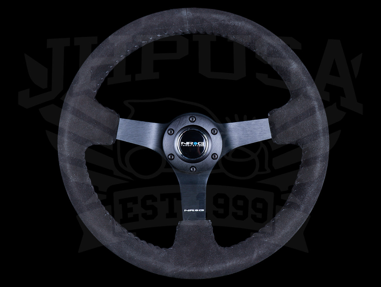NRG Sport Steering Wheel - 350mm Suede w/ Solid Spoke & Black Stitch