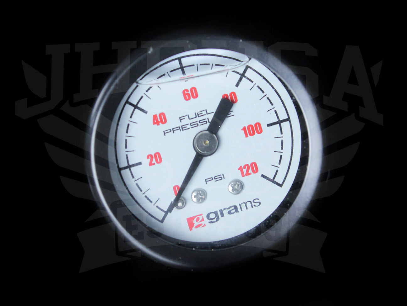 Grams Liquid Filled Fuel Pressure Gauge (White Face) - 0-120psi