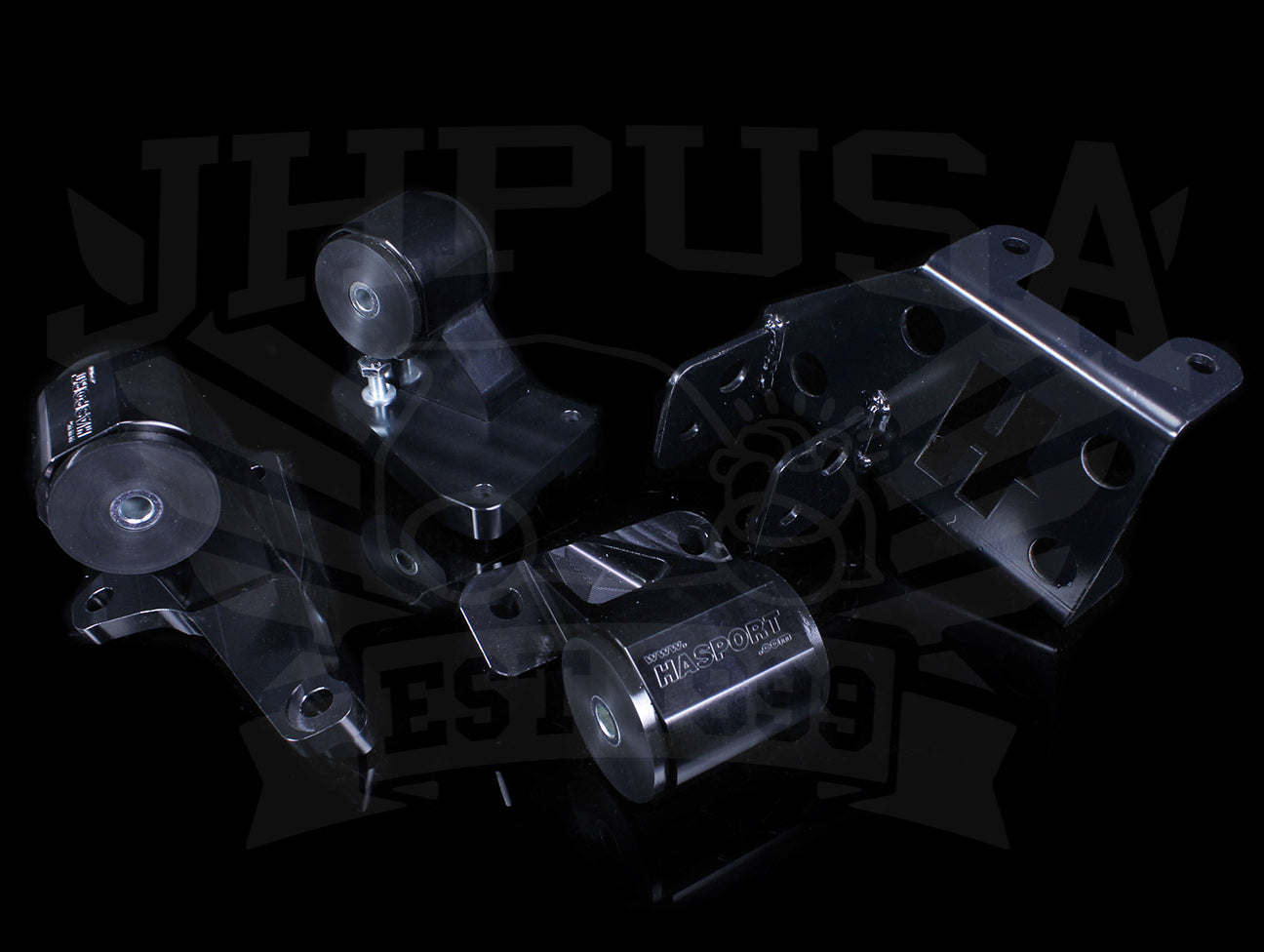 Hasport Billet Black H-series Engine Mount Kit - 92-95 Civic / 94-01 Integra