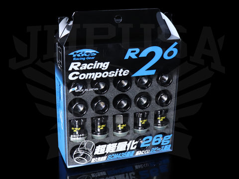 Project Kics R26 Shorty Lug Nuts with Locks - Composite Black