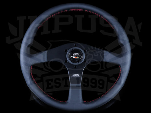 Mugen 350mm Racing 3 Steering Wheel - Black Leather / Red Stitch
