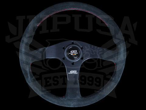 Mugen 350mm Racing 3 Steering Wheel - Black Suede / Red Stitch