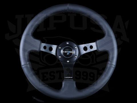 NRG Deep Dish Sport Steering Wheel - 350mm Black Leather / Black Stitch