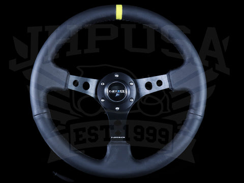 NRG Deep Dish Sport Steering Wheel - 350mm Black Leather / Yellow Marker / Black Stitch