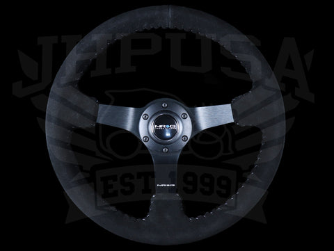 NRG Deep Dish Sport Steering Wheel - 350mm Black Suede / Silver Baseball Stitch