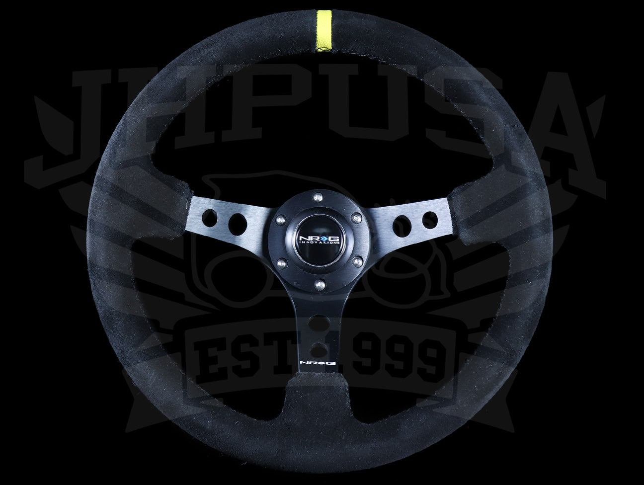 Blue Line Eurobuy 350mm Suede Leather Deep Dish Steering Wheel for Car Racing