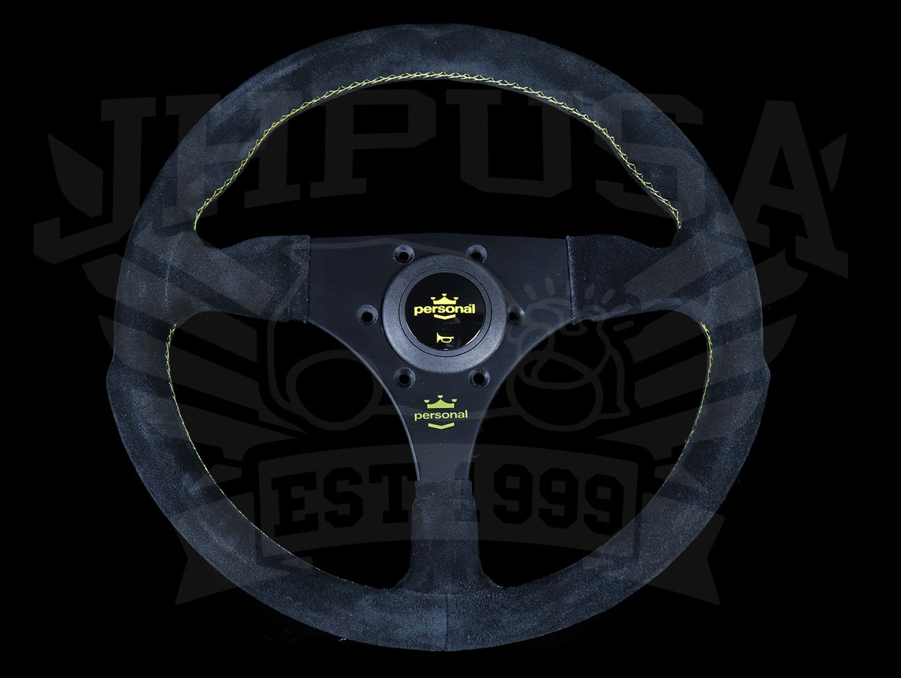 Personal Fitti F1 320mm Steering Wheel - Black Suede / Yellow Stitch