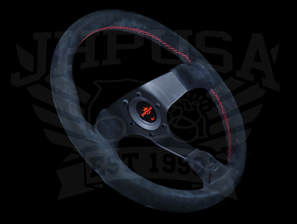 Personal Fitti Corsa 350mm Steering Wheel -  Black Suede / Red Stitch