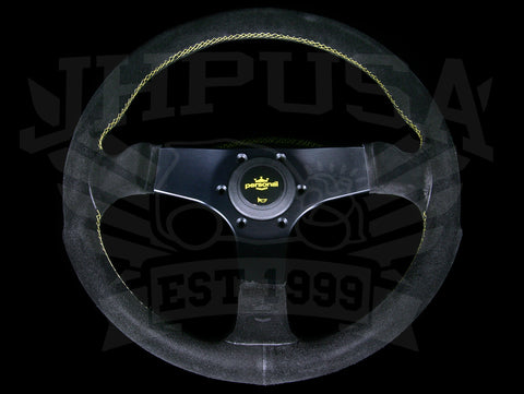 Personal Fitti Corsa 350mm Steering Wheel - Black Suede / Yellow Stitch