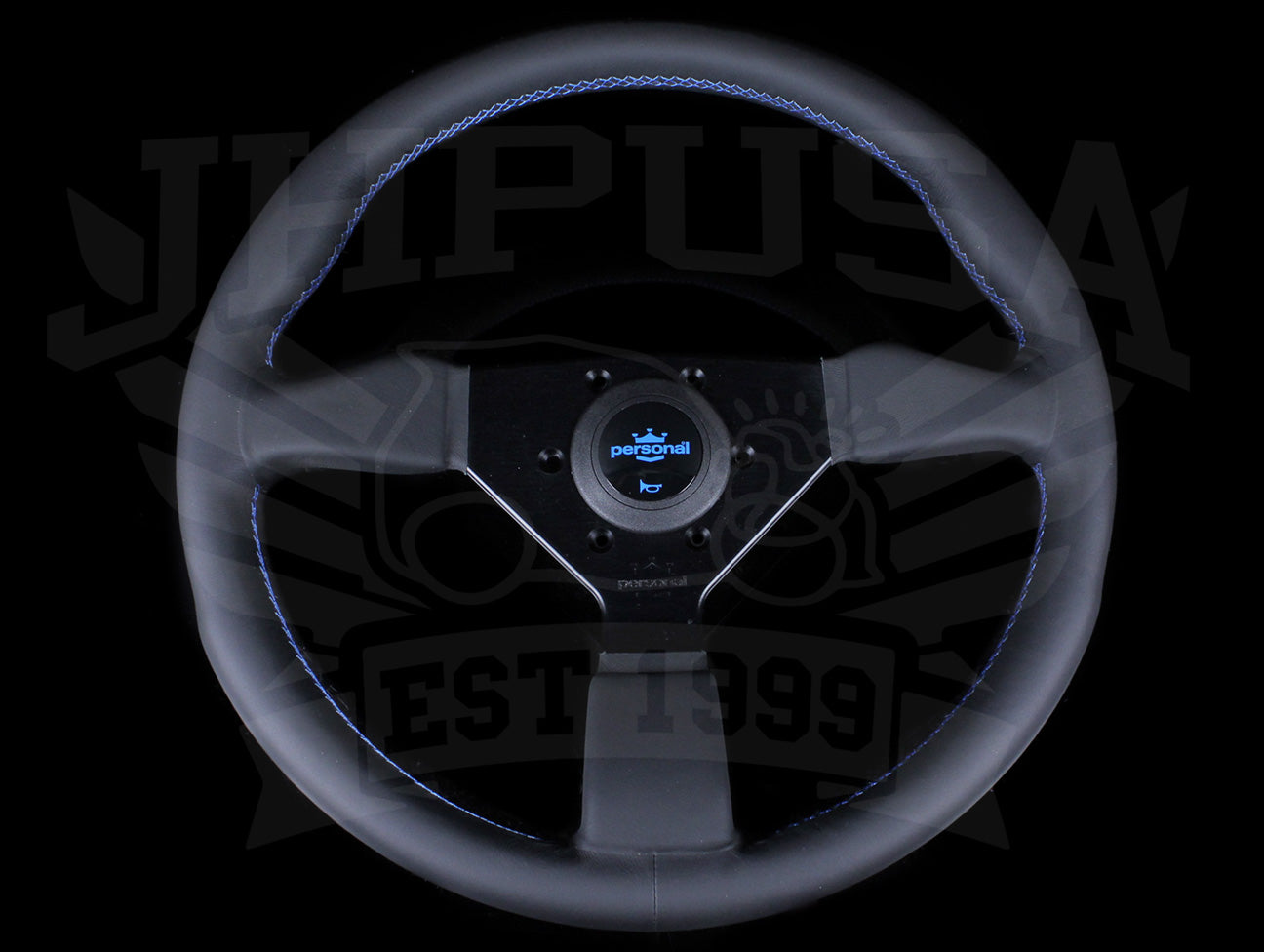 Personal Neo Grinta 350mm Steering Wheel - Black Leather / Blue Stitch