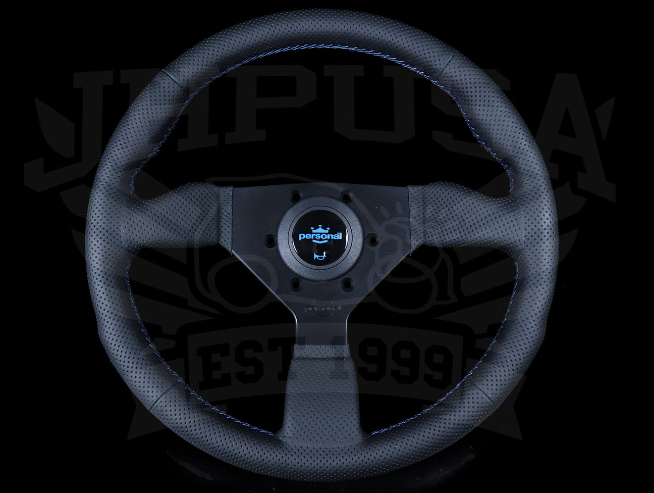 Personal Neo Grinta 330mm Steering Wheel - Perforated Leather / Blue Stitch