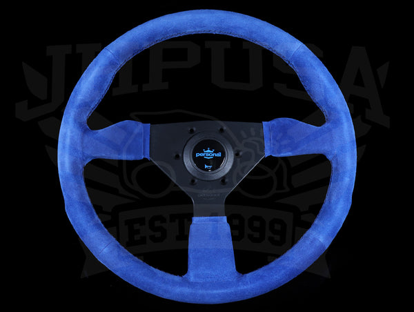Personal Neo Grinta 350mm Steering Wheel - Blue Suede / Black Spokes / Black Stitch