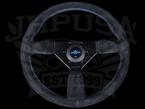 Personal Neo Grinta 350mm Steering Wheel - Black Suede / Blue Stitch