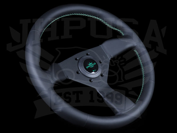 Personal Neo Grinta 330mm Steering Wheel - Black Leather / Green Stitch