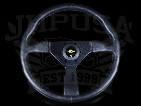 Personal Grinta 350mm Steering Wheel - Black Polyurethane /  Yellow Horn Button